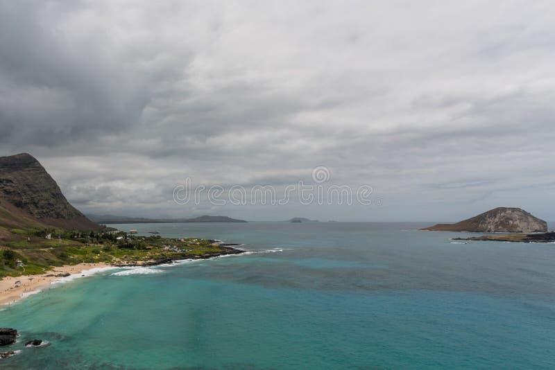 Vista aéreo escénico del punto de Makapuu en Oahu fotografía de archivo