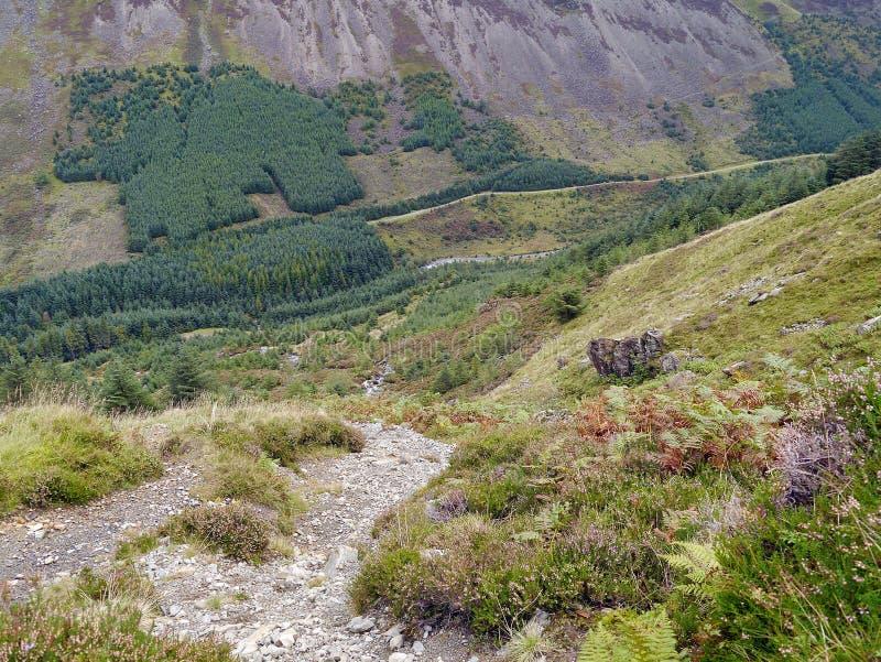 Vista abaixo do trajeto dos seixos ao vale abaixo imagem de stock