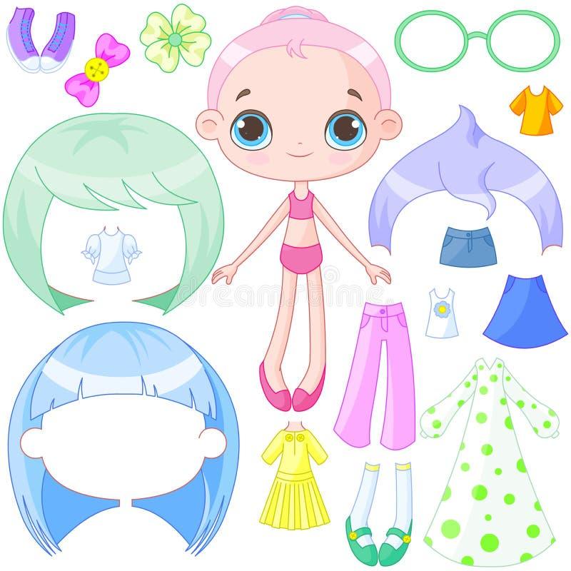 Vista acima a boneca ilustração stock