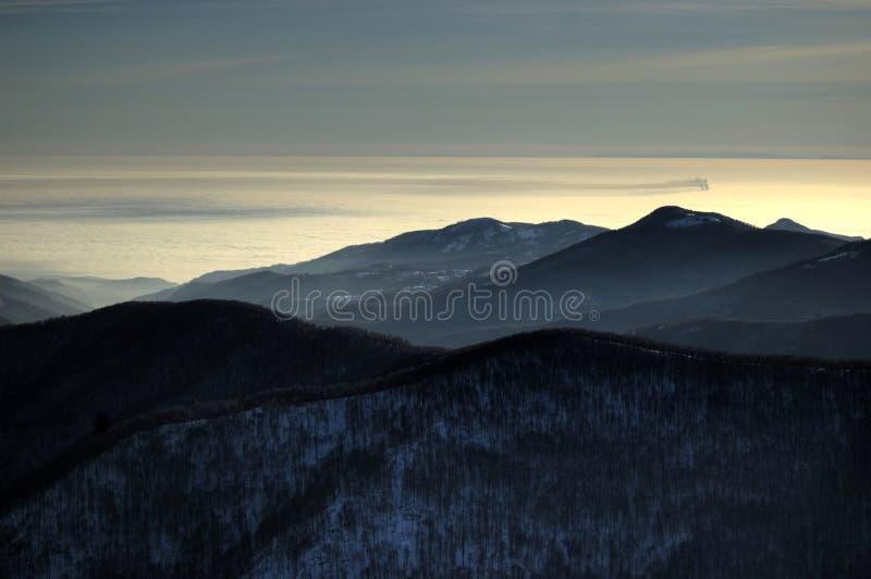 Vista acima das nuvens fotografia de stock