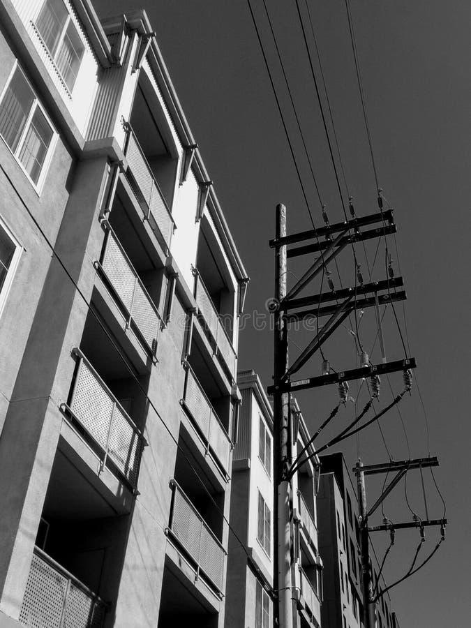 A vista acima de preto & de branco imagem de stock