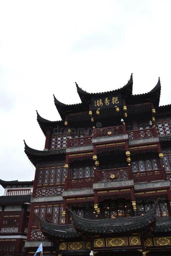Vista acima na réplica da construção chinesa tradicional fotos de stock royalty free