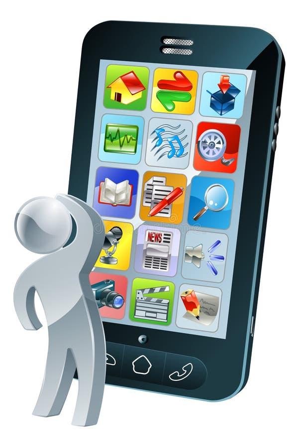 Vista acima na tela do telefone com pensamento dos apps ilustração royalty free