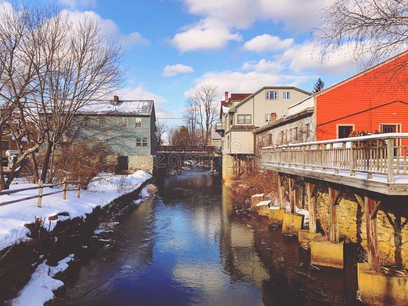 Vista ad ovest della città di stockbridge fotografia stock libera da diritti