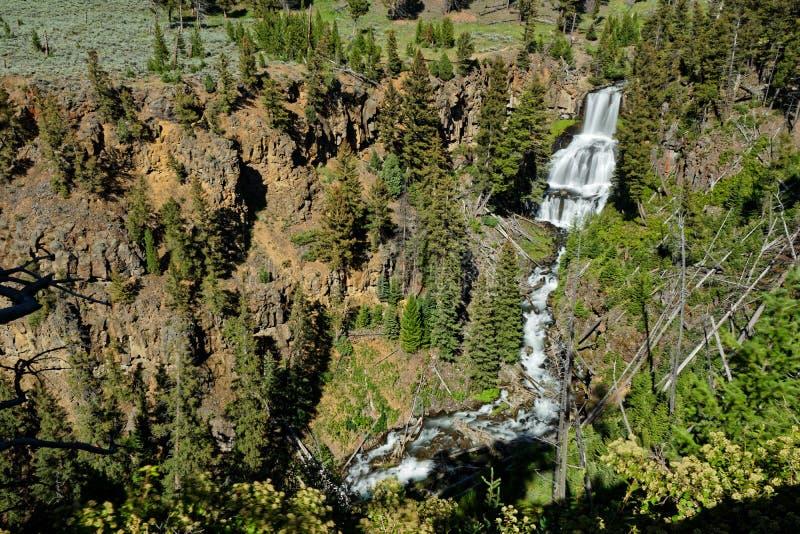 Vista ad Undine Falls nel parco nazionale di Yellowstone immagini stock libere da diritti
