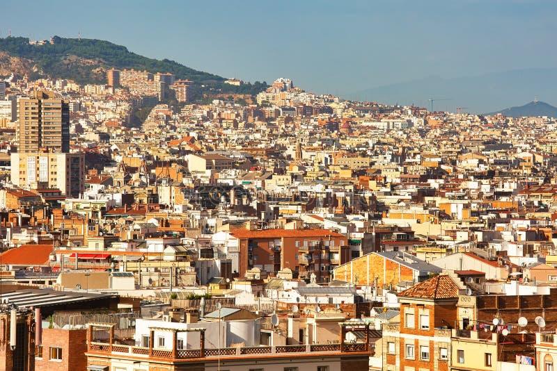 Vista aerea agli ambienti di Barcellona, fondo urbano fotografia stock