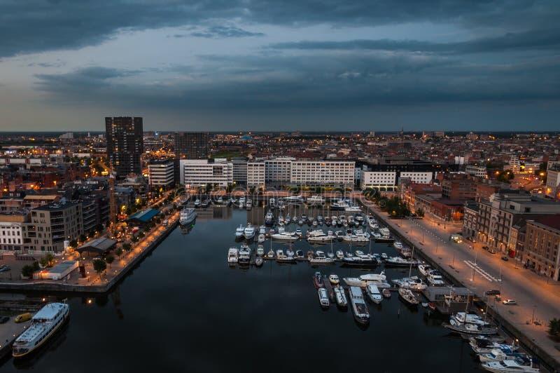 Vista aerea al porto di Anversa dal tetto fotografia stock