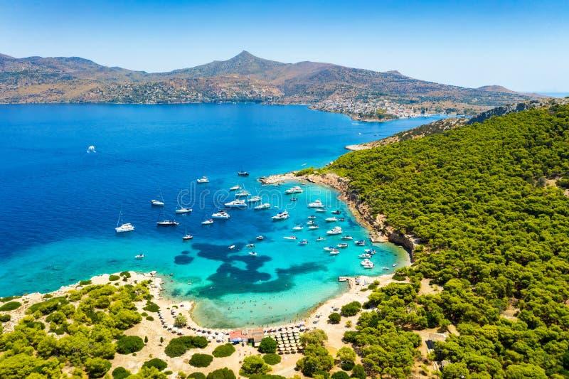 Vista aerea all'isola di Moni, golfo di Saronic, Grecia immagini stock