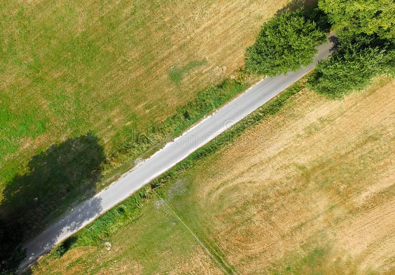 Vista aerea astratta, vista verticale di un percorso che attraversa l'immagine diagonalmente, con due grandi alberi all'estremità fotografia stock