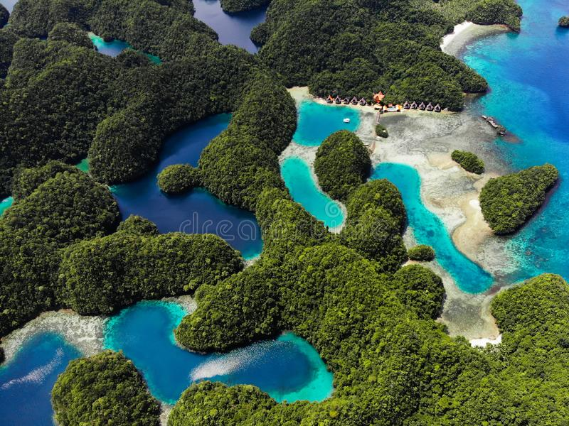Vista aerea - baia di Sohoton, Siargao - le Filippine fotografia stock