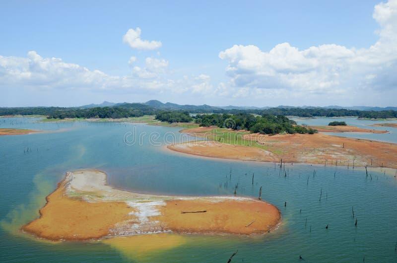 Vista aerea canale di Panama del lago Gatun, fotografia stock
