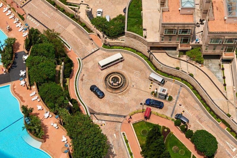 Vista aerea dall'alta residenza di aumento di Hong Kong fotografia stock libera da diritti