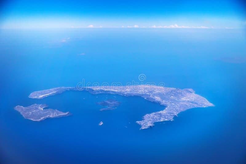 Vista aerea dall'isola da un aereo, Santorini, Grecia di Santorini fotografie stock