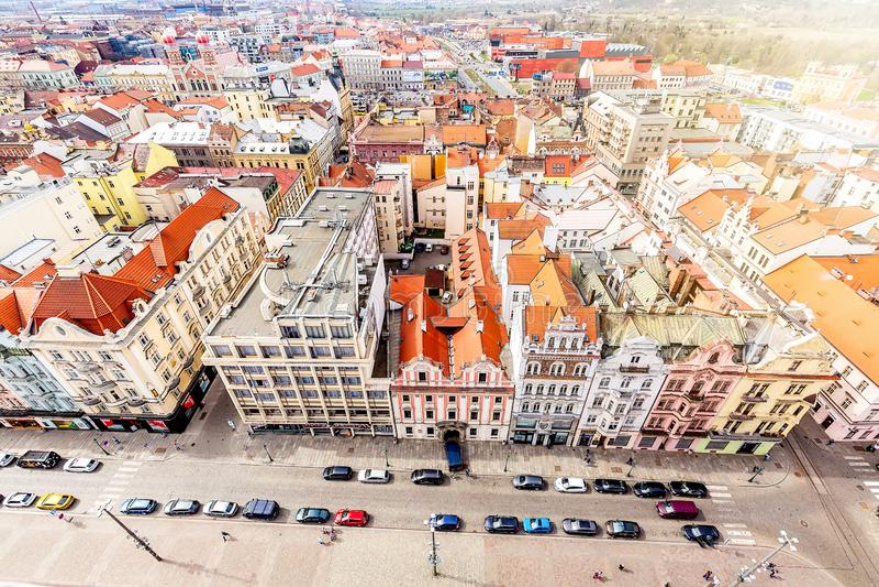 Vista aerea dalla cattedrale della st Bartholomews sopra il quadrato della Repubblica Pilsen o Plzen, in repubblica Ceca della Bo immagini stock libere da diritti