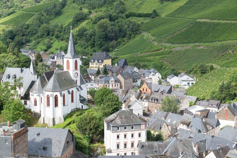 Vista aerea dalla città tedesca Trarbach immagini stock libere da diritti