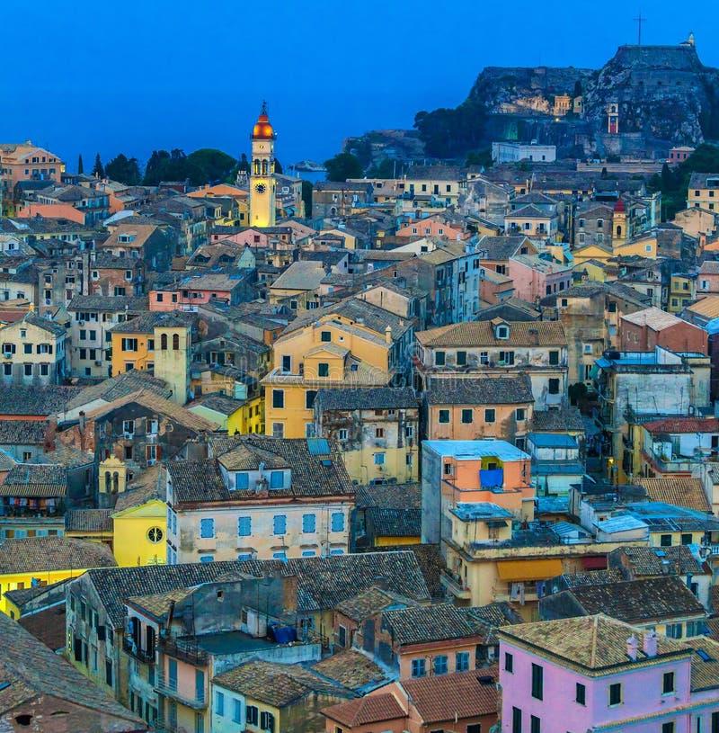 Vista aerea dalla nuova fortezza alla sera, Corfù immagini stock libere da diritti