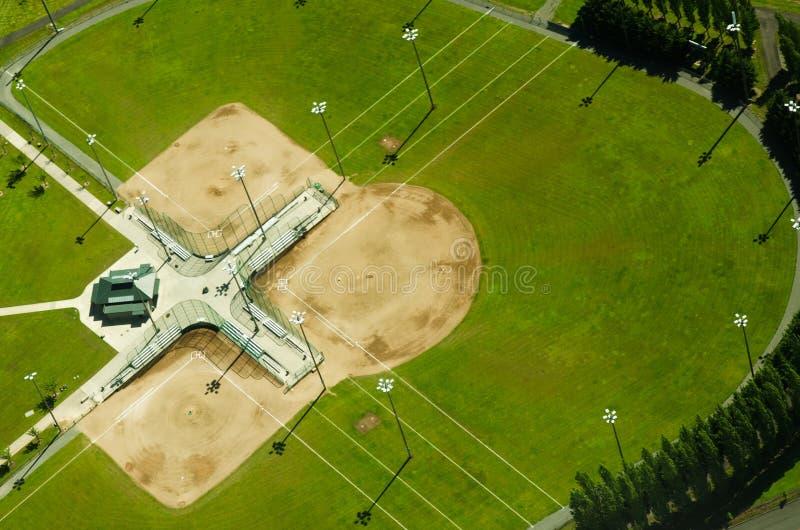 Vista aerea dei campi di baseball fotografia stock libera da diritti