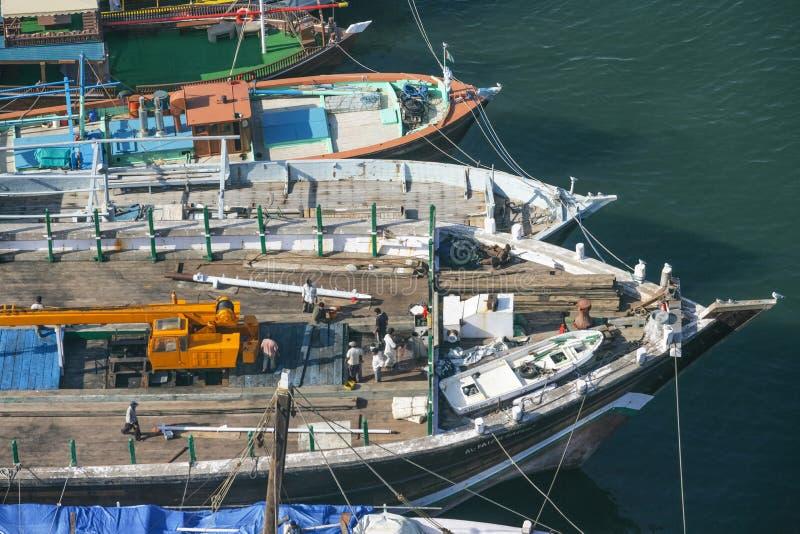 Vista aerea dei Dhows nel Dubai fotografia stock