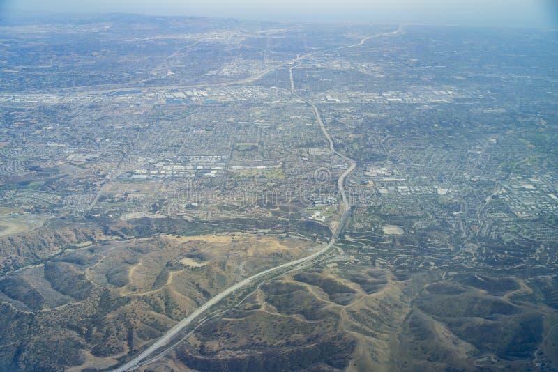 Vista aerea del Brea, Fullerton fotografie stock libere da diritti