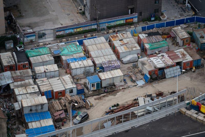 Vista aerea del campo del muratore in Cina fotografie stock