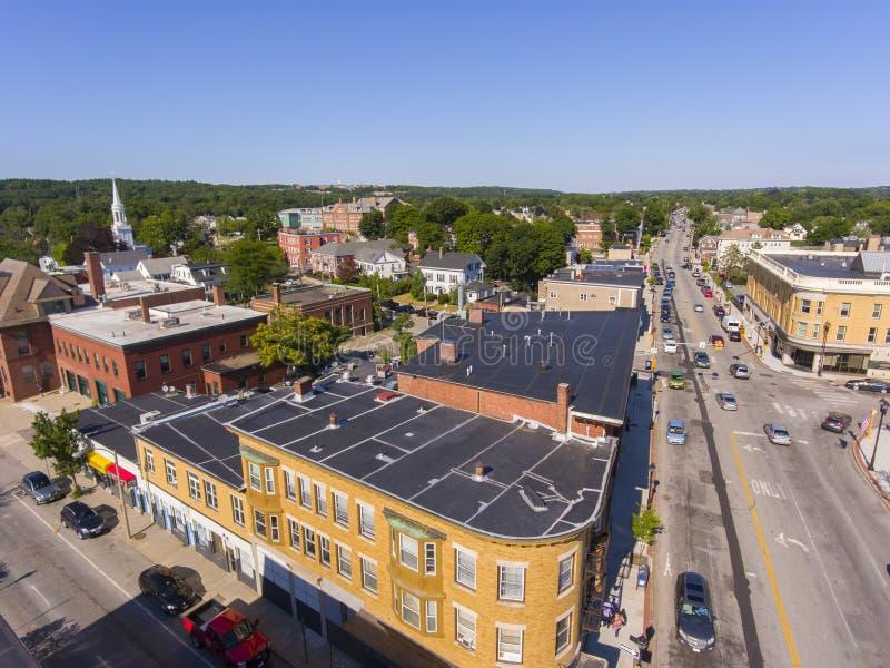 Vista aerea del centro città di Waltham, Massachusetts, Stati Uniti fotografia stock libera da diritti