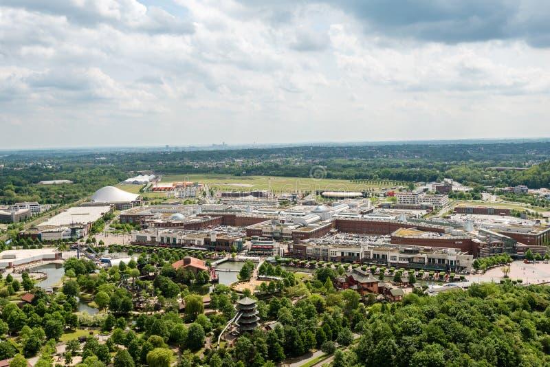 Vista aerea del centro commerciale Centro a Oberhausen, Germania fotografia stock