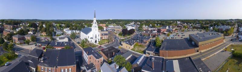 Vista aerea del centro di Woburn, Massachusetts, U.S.A. fotografia stock libera da diritti