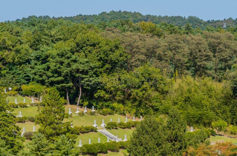 Vista aerea del cimitero fotografie stock libere da diritti