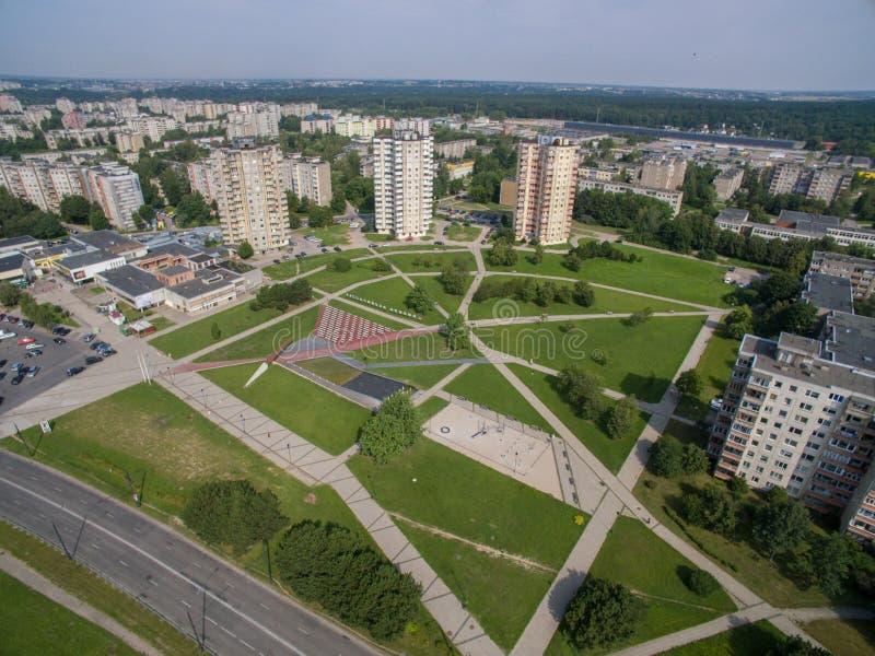 Vista aerea del distretto di Kalnieciai a Kaunas immagine stock libera da diritti