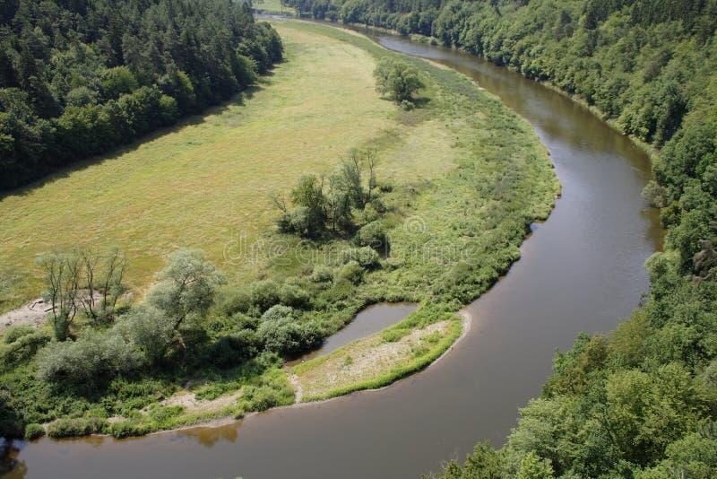 Vista aerea del fiume che passa la foresta immagine stock libera da diritti