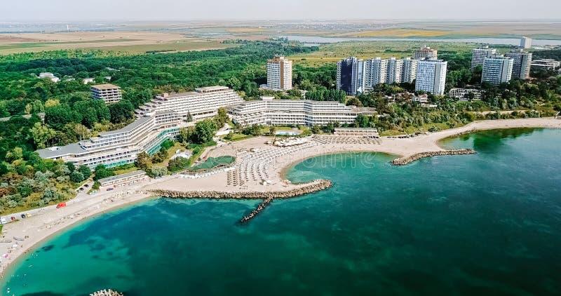 Vista aerea del fuco della località di soggiorno di Neptun-Olimp al Mar Nero fotografia stock libera da diritti