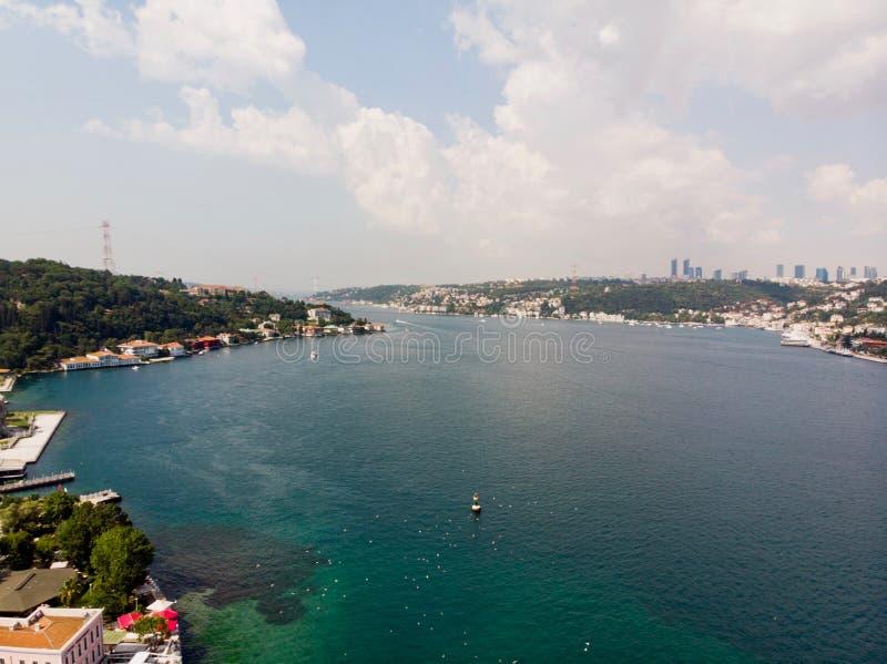 Vista aerea del fuco di Costantinopoli Bosphorus, Kandilli/Beykoz fotografia stock libera da diritti