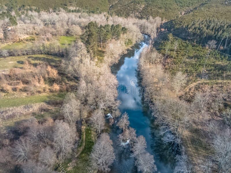 Vista aerea del fuco, del lago artificiale e della foresta densa sulle banche fotografie stock libere da diritti