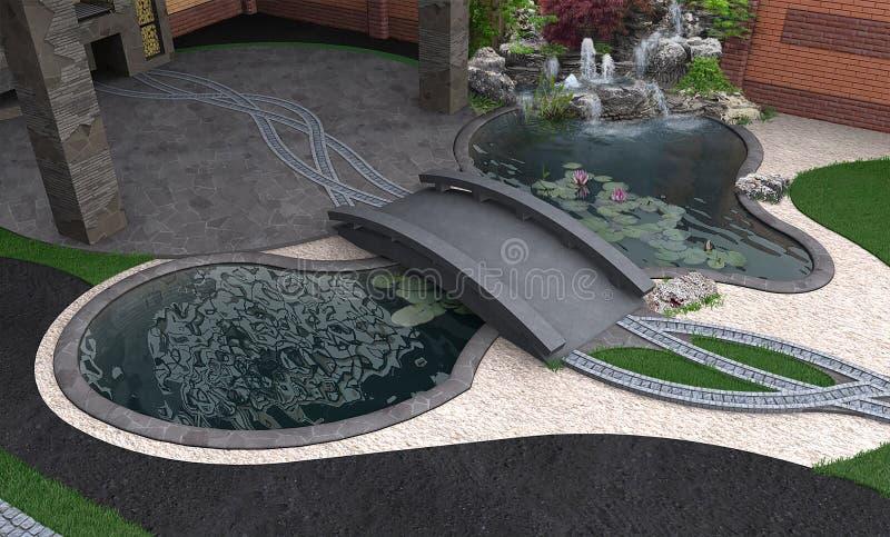 Vista aerea del giardino dell'acqua, rappresentazione 3d royalty illustrazione gratis