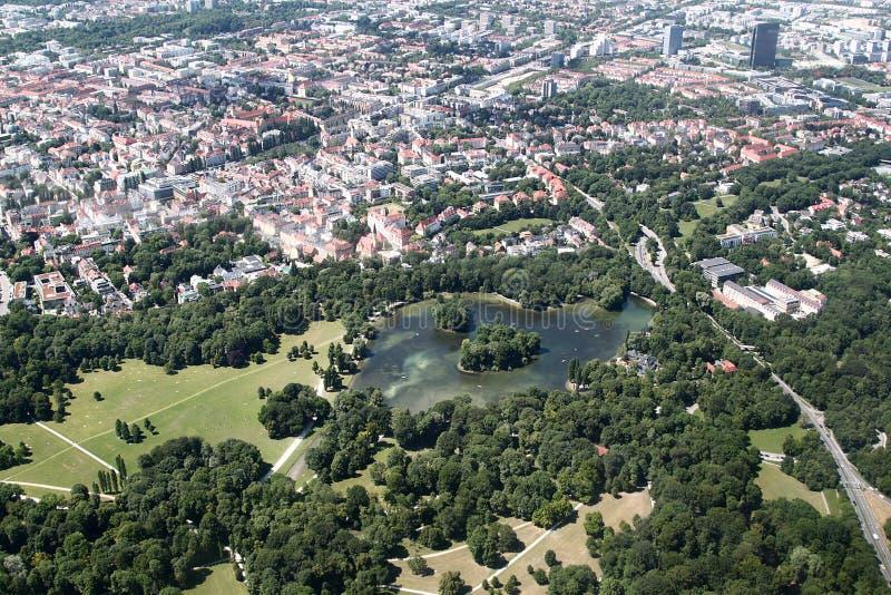 Vista aerea del giardino inglese, Monaco di Baviera immagini stock