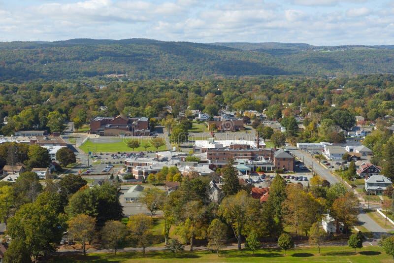 Vista aerea del Greenfield, Massachusetts, U.S.A. fotografie stock