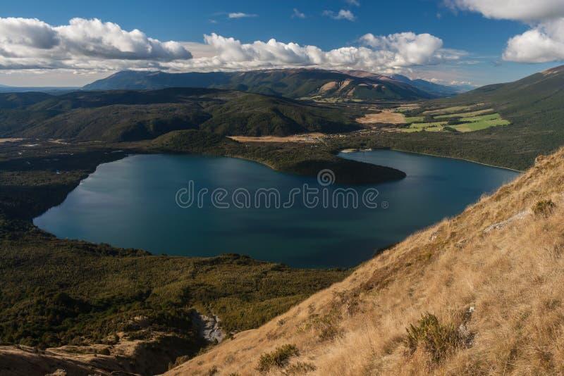 Vista aerea del lago Rotoiti in Nelson Lakes National Park fotografia stock libera da diritti