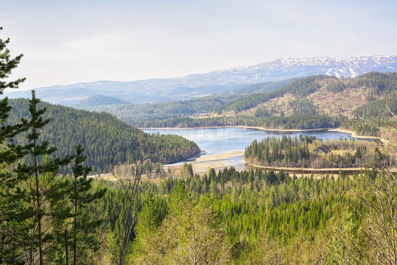 Vista aerea del lago Selbu, Norvegia immagine stock