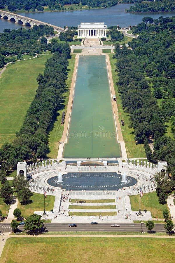 Vista aerea del memoriale di Lincoln in Washington DC immagine stock