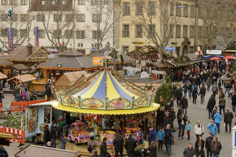 Vista aerea del mercato di natale del centro urbano, Stuttgart fotografia stock