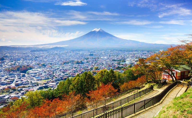 Vista aerea del mt Fuji, Fujiyoshida, Giappone immagine stock