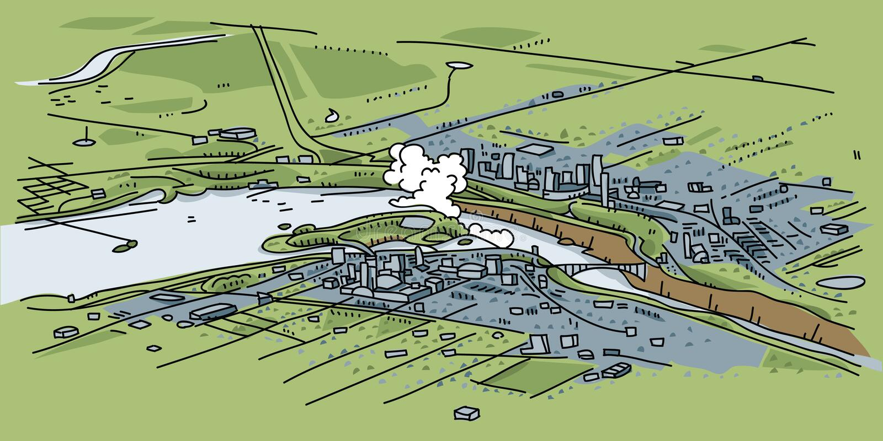 Vista aerea del Niagara Falls illustrazione vettoriale