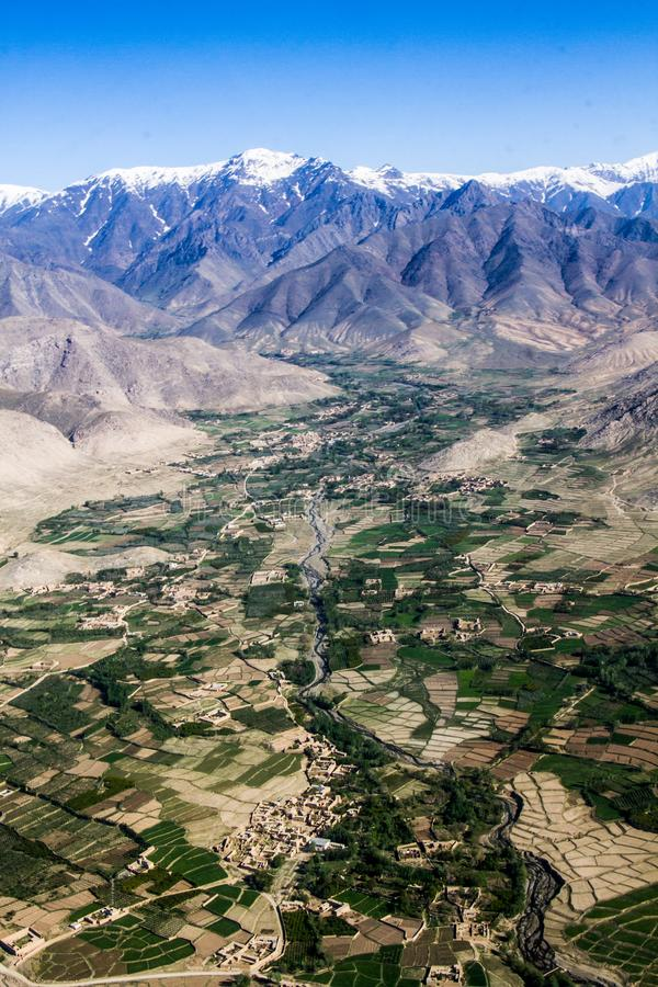 Vista aerea del paesaggio di Kabul, Afghanistan fotografie stock