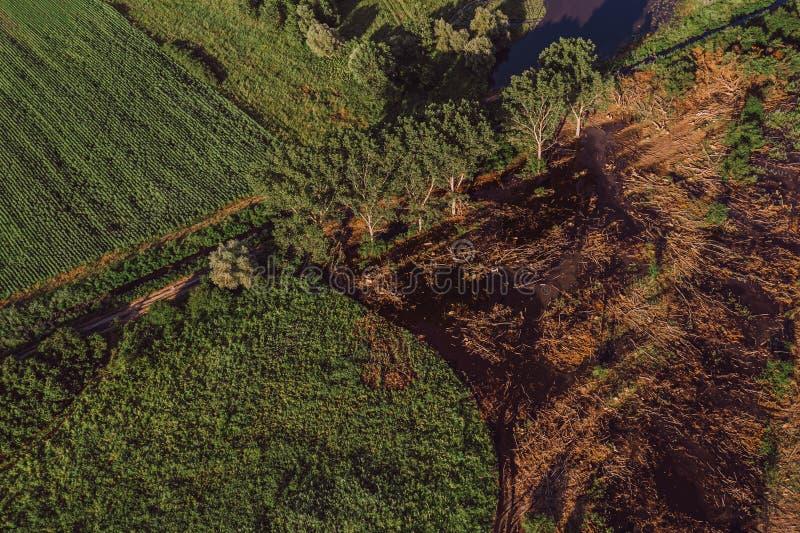 Vista aerea del paesaggio sommerso della campagna immagini stock