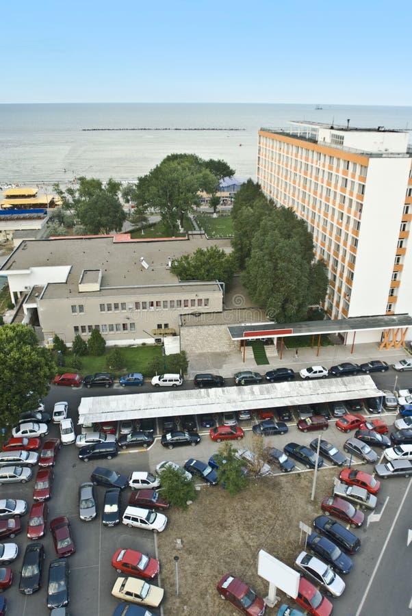 Vista aerea del parcheggio fotografie stock libere da diritti