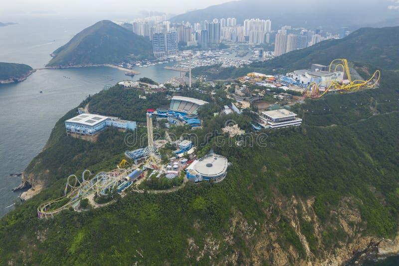Vista aerea del parco dell'oceano in Hong Kong immagini stock