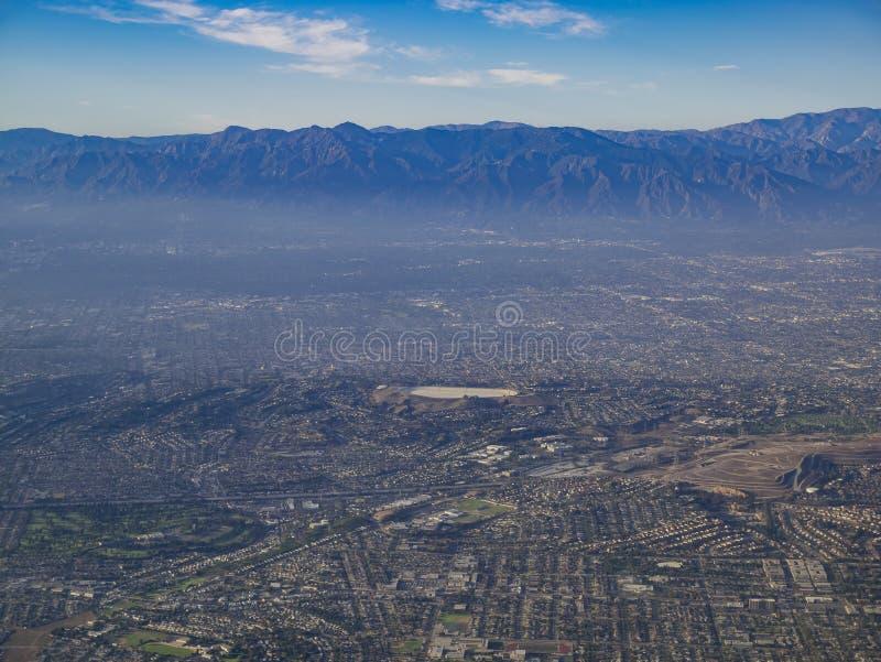 Vista aerea del parco di Monterey, Rosemead, vista dal sedile di finestra dentro fotografia stock libera da diritti