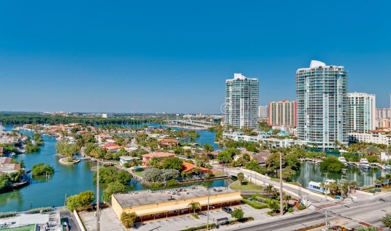 Vista aerea del prope Intracoastal e di lusso di Miami fotografia stock