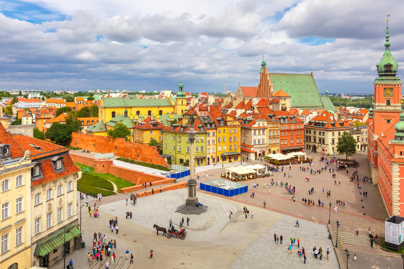 Vista aerea del quadrato del castello a Varsavia, Polonia fotografie stock