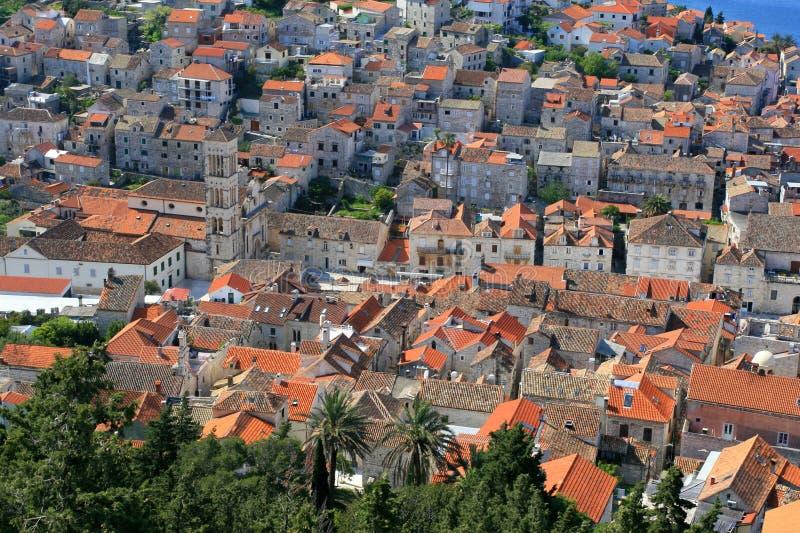 Vista aerea del quadrato di città principale su Hvar fotografie stock